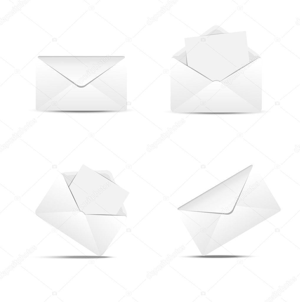 Four paper envelopes on a white background