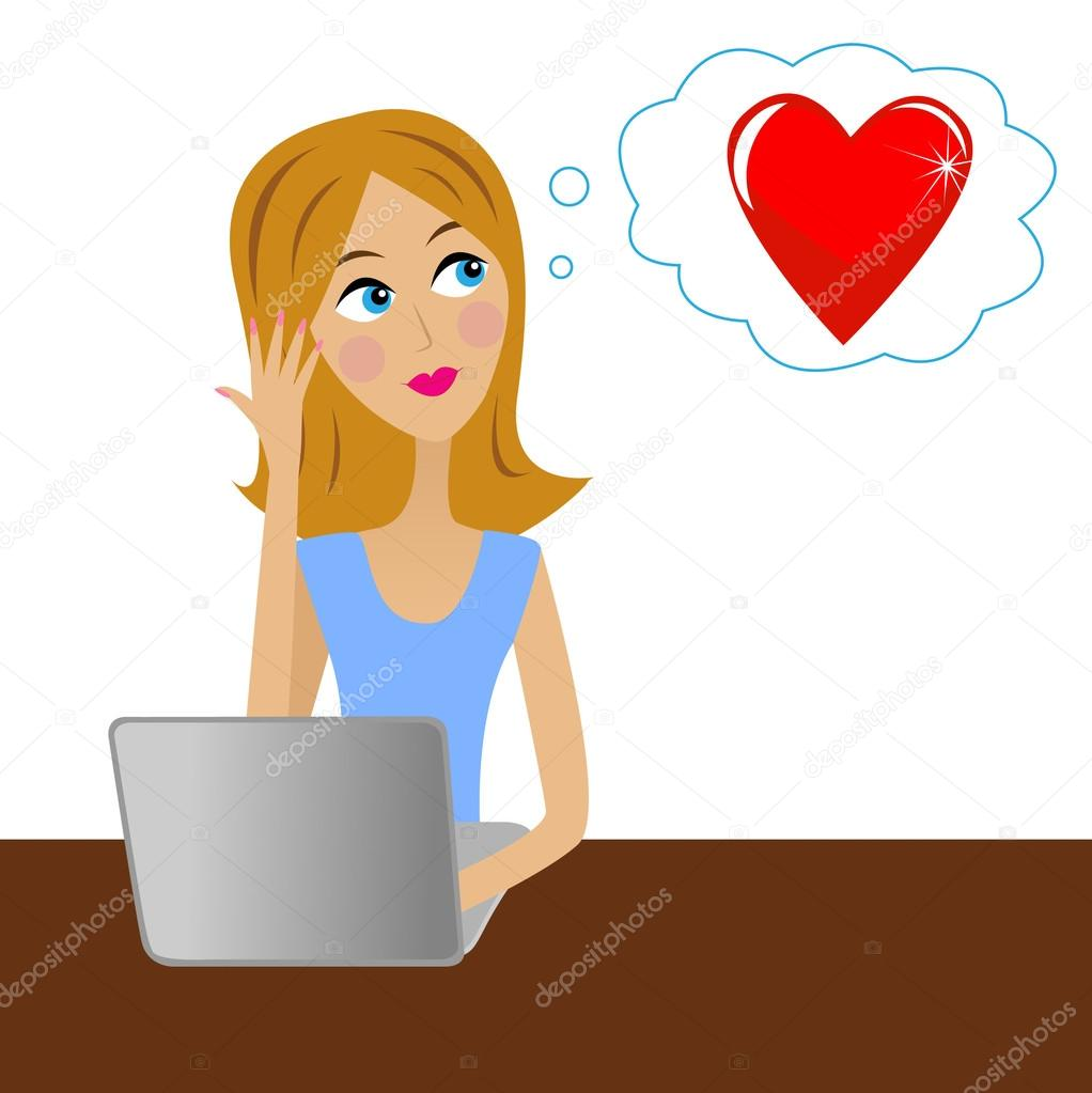 young business woman thinks in office about love