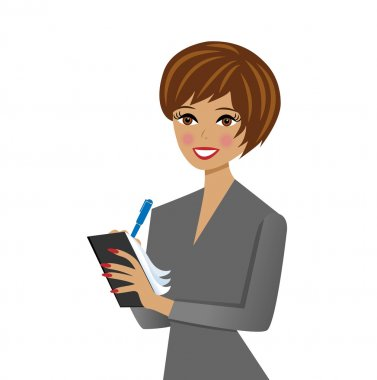 beautiful  business woman with notebook and pen in hand