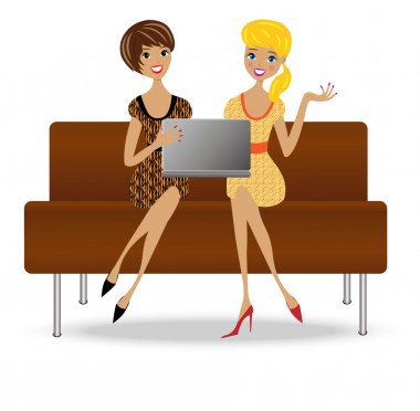 two slender business woman sit on sofa with notebook