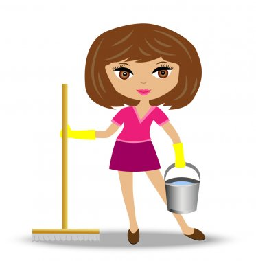 young woman  with mop and bucket in hand