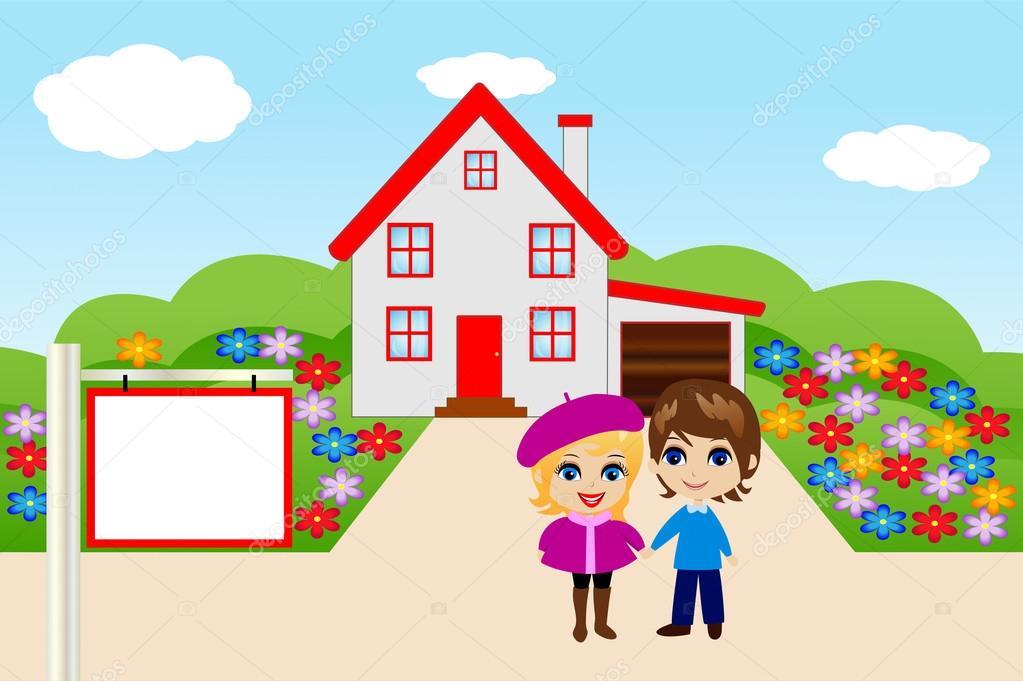 Een Nieuw Huis : Grappig vrolijk paar op een achtergrond een nieuw huis u2014 stockvector