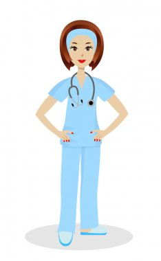 young woman doctor on white background