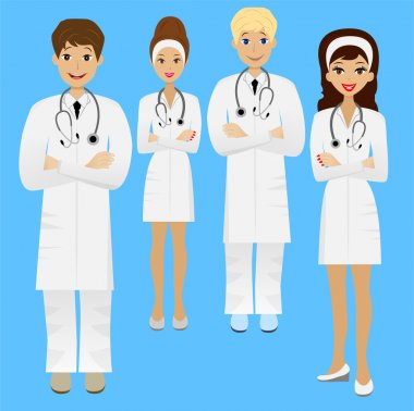 Group young doctor ,vector illustration clip art vector