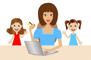 mother with daughters is accomplished by purchases over the inte