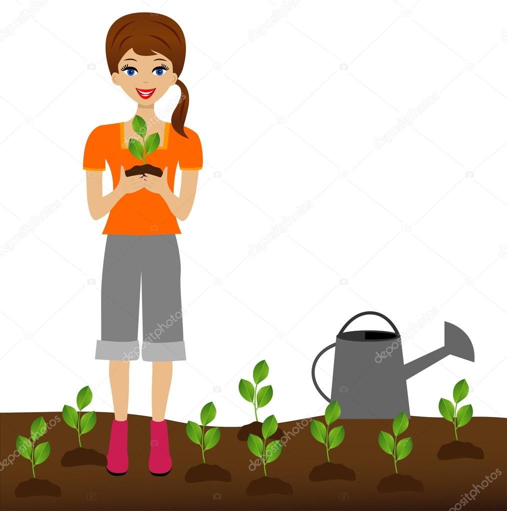 a young woman plants a nursery transplant in soil