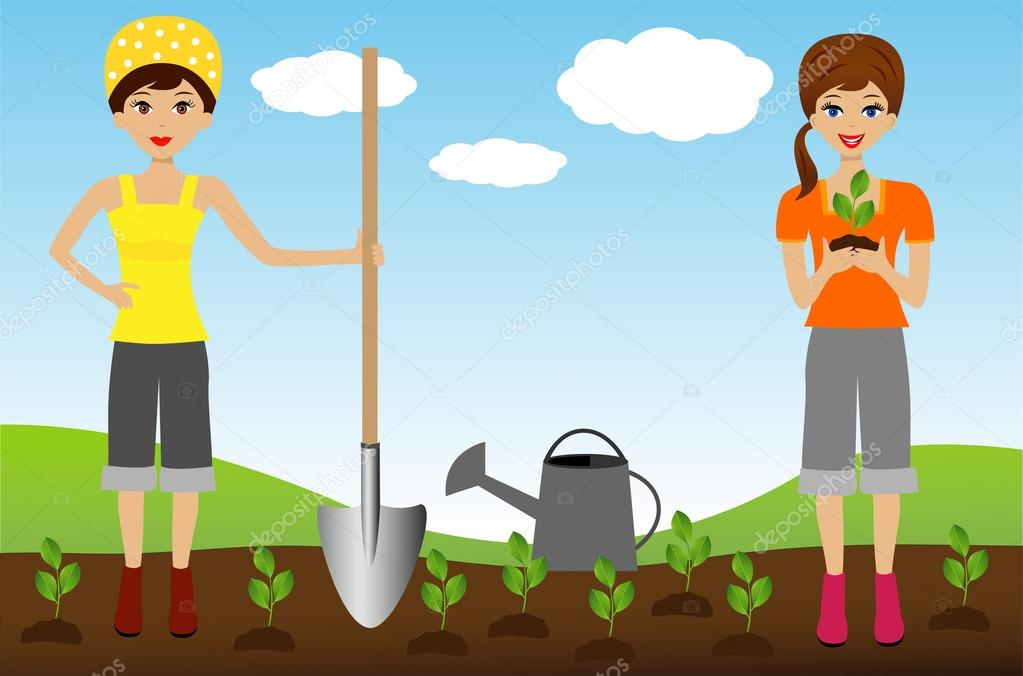two young woman plant nursery transplant in soil