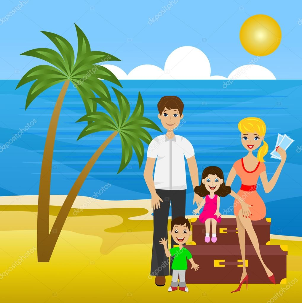 Family on  leave sit on suitcases ashore sea