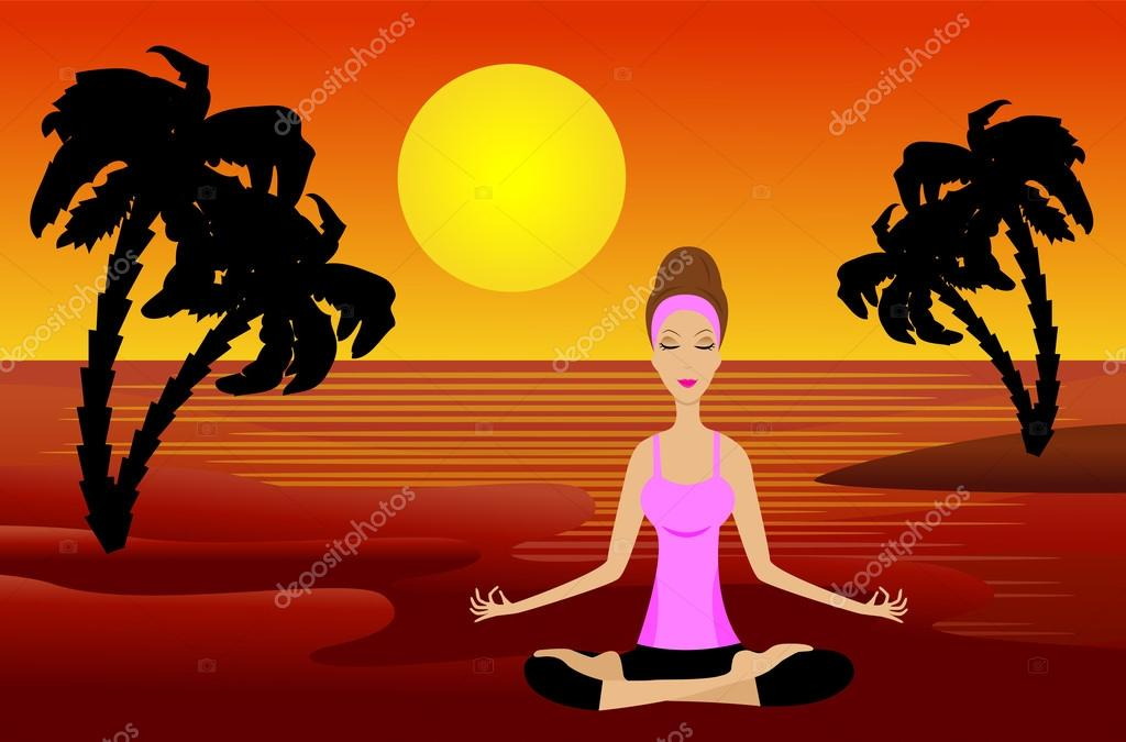 woman sits in the pose of lotus on to the bank sea at sunset