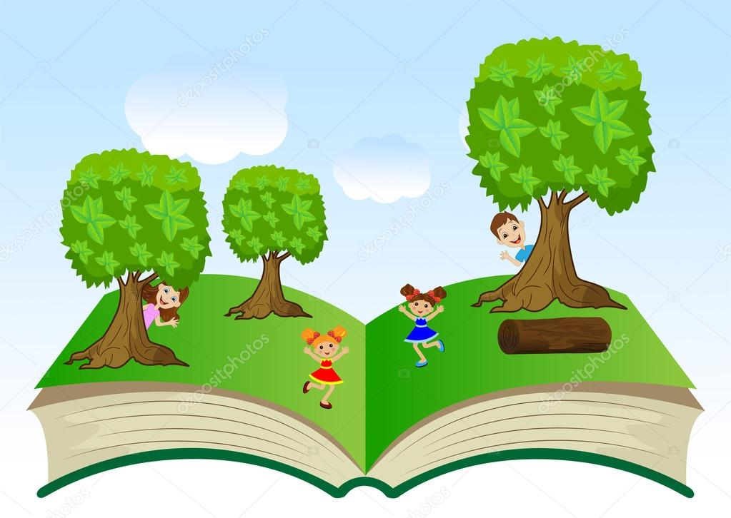 open book with children and summer landscape