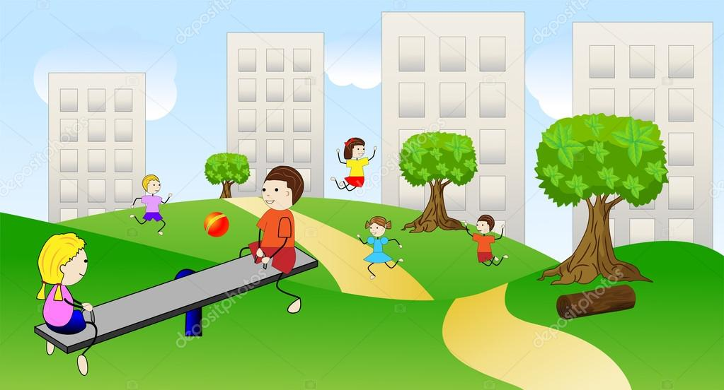 Children play the green lawn near pitch houses