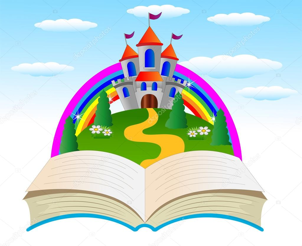 Open book with a fairy-tale palace on the fringe of the forest