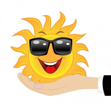 merry sun in a hand on a white background