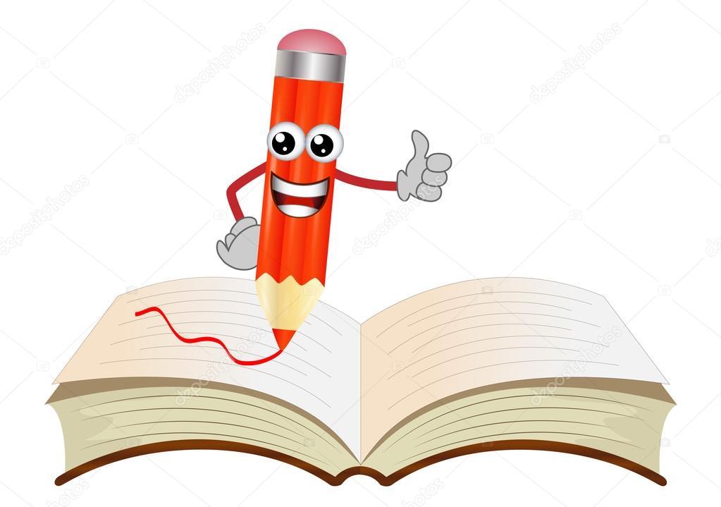 feliz dibujo a lápiz sobre un libro abierto — Archivo Imágenes ...