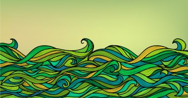 Abstract Waves Background, Vector Blue Green Orange Colorful Han