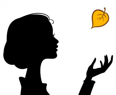 Beauty Girl Silhouette with Leaf. Beautiful woman Vector Portrai