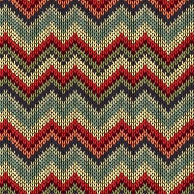 Style Seamless Knitted Pattern. Red Blue Brown Yellow Orange Gre