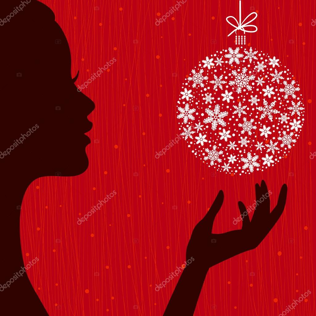 Christmas Eve background. Profile Silhouette of Pretty Young Wom