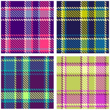 Set of Seamless Checkered Vector Plaid Pattern