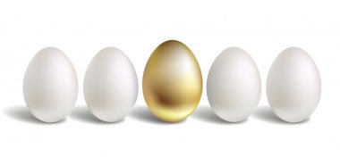 Gold Vector Egg Concept. White and unique golden eggs