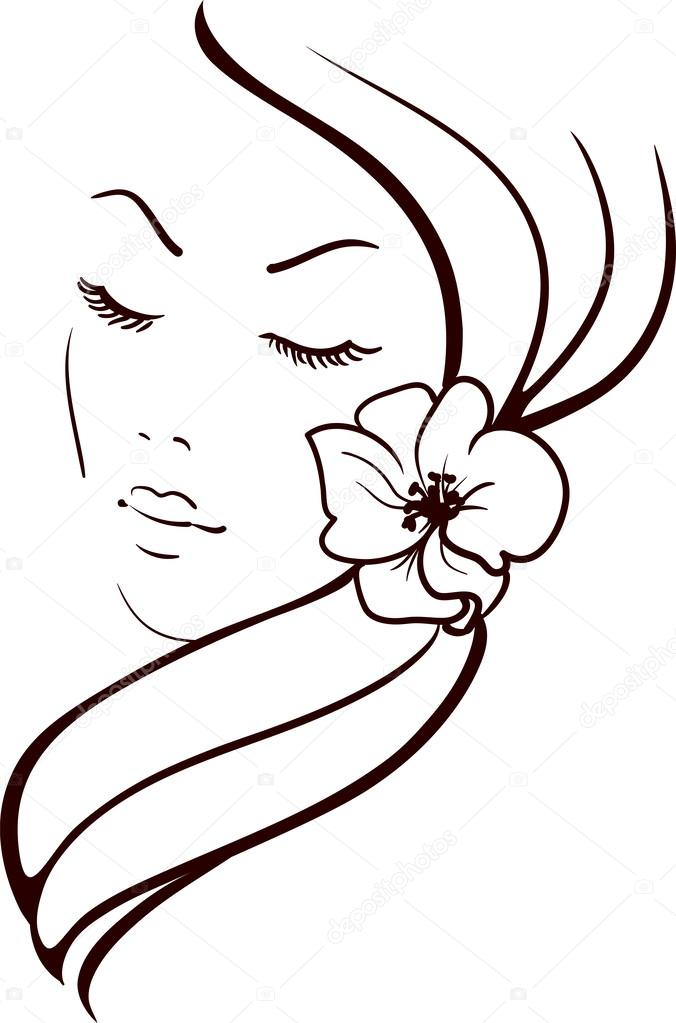 Woman Face With Beautiful Flower In Hair Vector Sketch