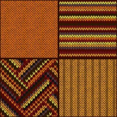 Seamless Knitted Pattern. Set