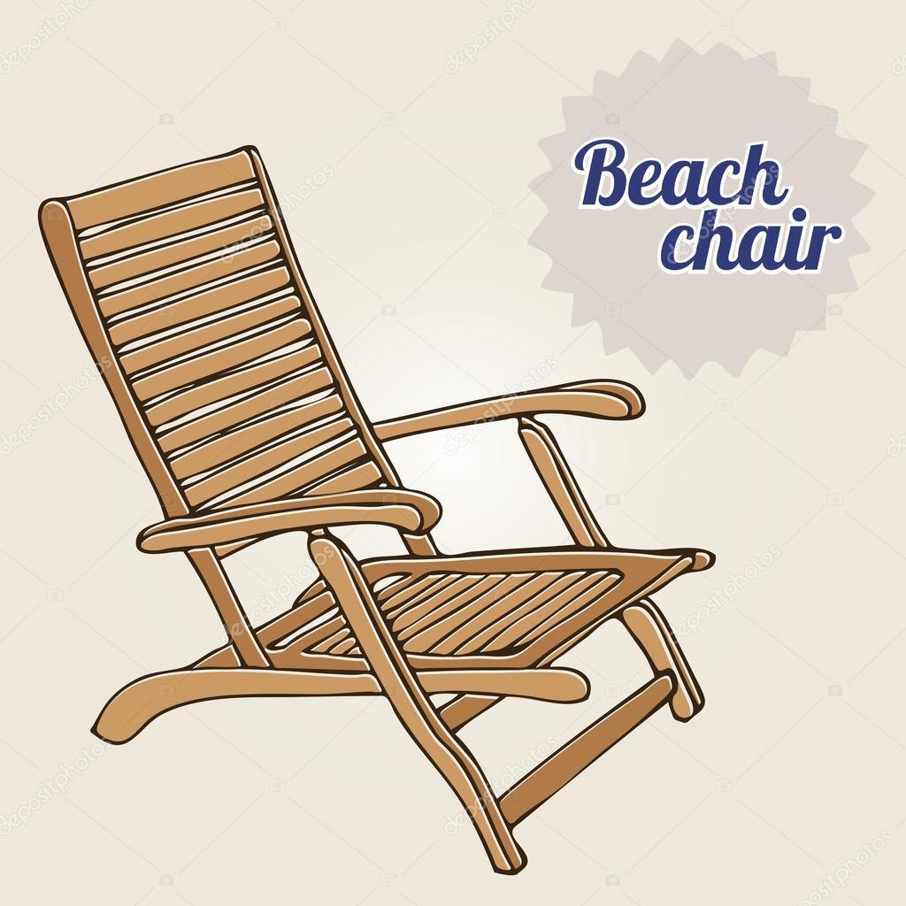 Vintage folding beach chairs - Vintage Illustration Beach Chair Stock Vector 32455501