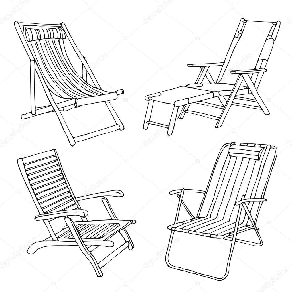 Easy beach chair drawing - Set Of Hand Drawn Beach Chairs Vector By Fandorina