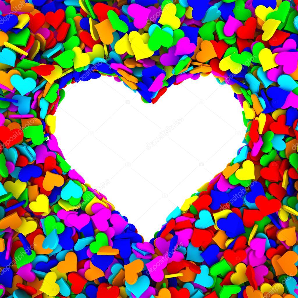 Excepcional quadro em branco da forma do coração é composto por muitos  VP74