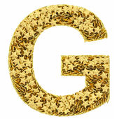 Photo Letter G composed of golden stars isolated on white