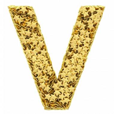 Letter V composed of golden stars isolated on white