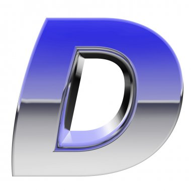 Chrome alphabet symbol letter D with color gradient reflections isolated on white