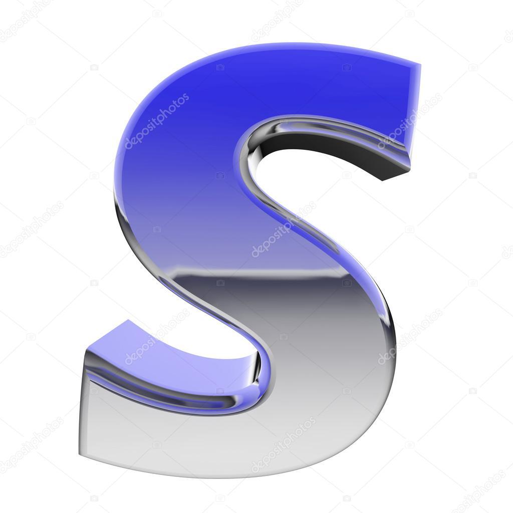 cromo alfabeto simbolo lettera s con riflessioni sfumatura colore isolati su bianco foto stock. Black Bedroom Furniture Sets. Home Design Ideas