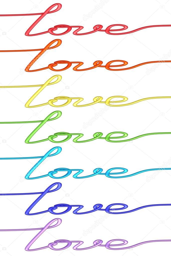 Reihe von bunten \'Liebe\' Worte hergestellt aus Draht isoliert auf ...