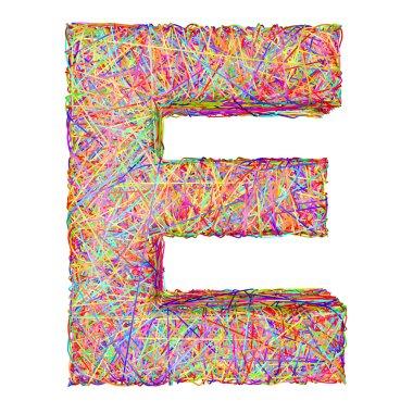 Alphabet symbol letter E composed of colorful striplines