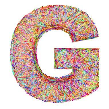 Alphabet symbol letter G composed of colorful striplines