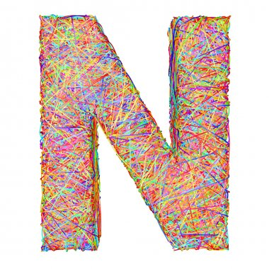 Alphabet symbol letter N composed of colorful striplines