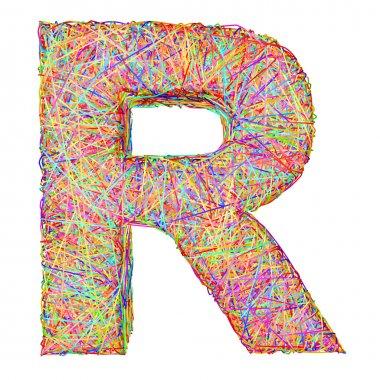 Alphabet symbol letter R composed of colorful striplines