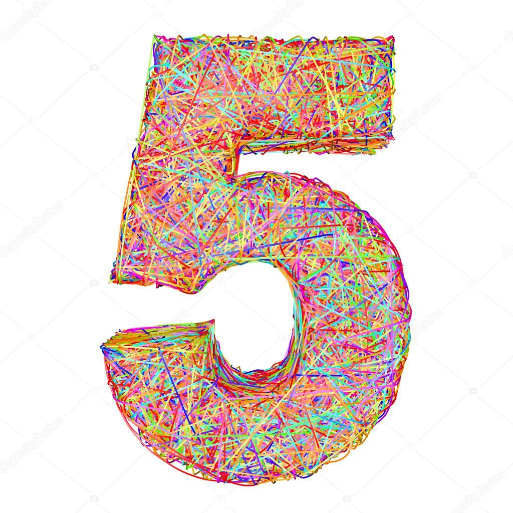 número 5 composto por coloridas striplines isolado no branco