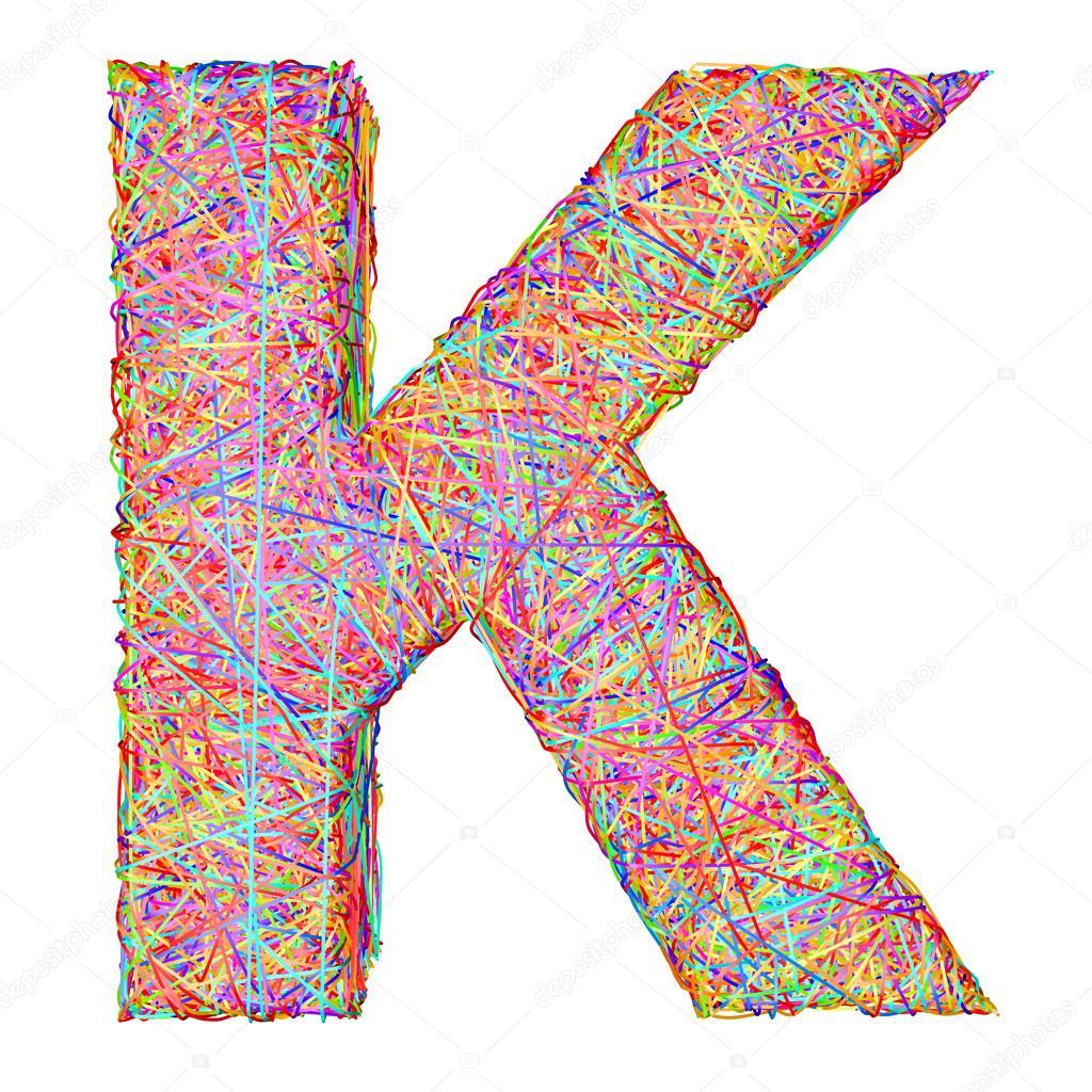 Alphabet Symbol Buchstabe k bestehend aus bunten striplines ...