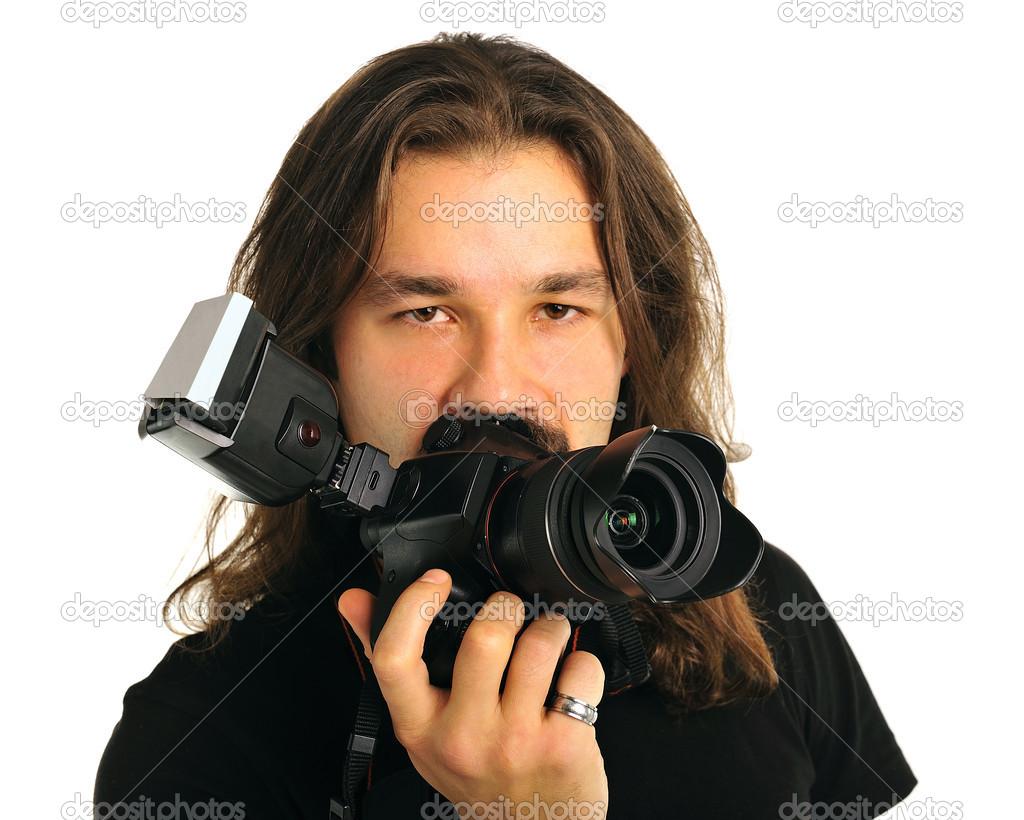 photographe de portrait avec un appareil photo photographie kruglovorda 19111017. Black Bedroom Furniture Sets. Home Design Ideas