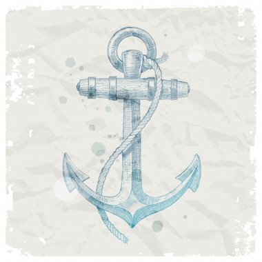 Hand drawn anchor on grunge paper background