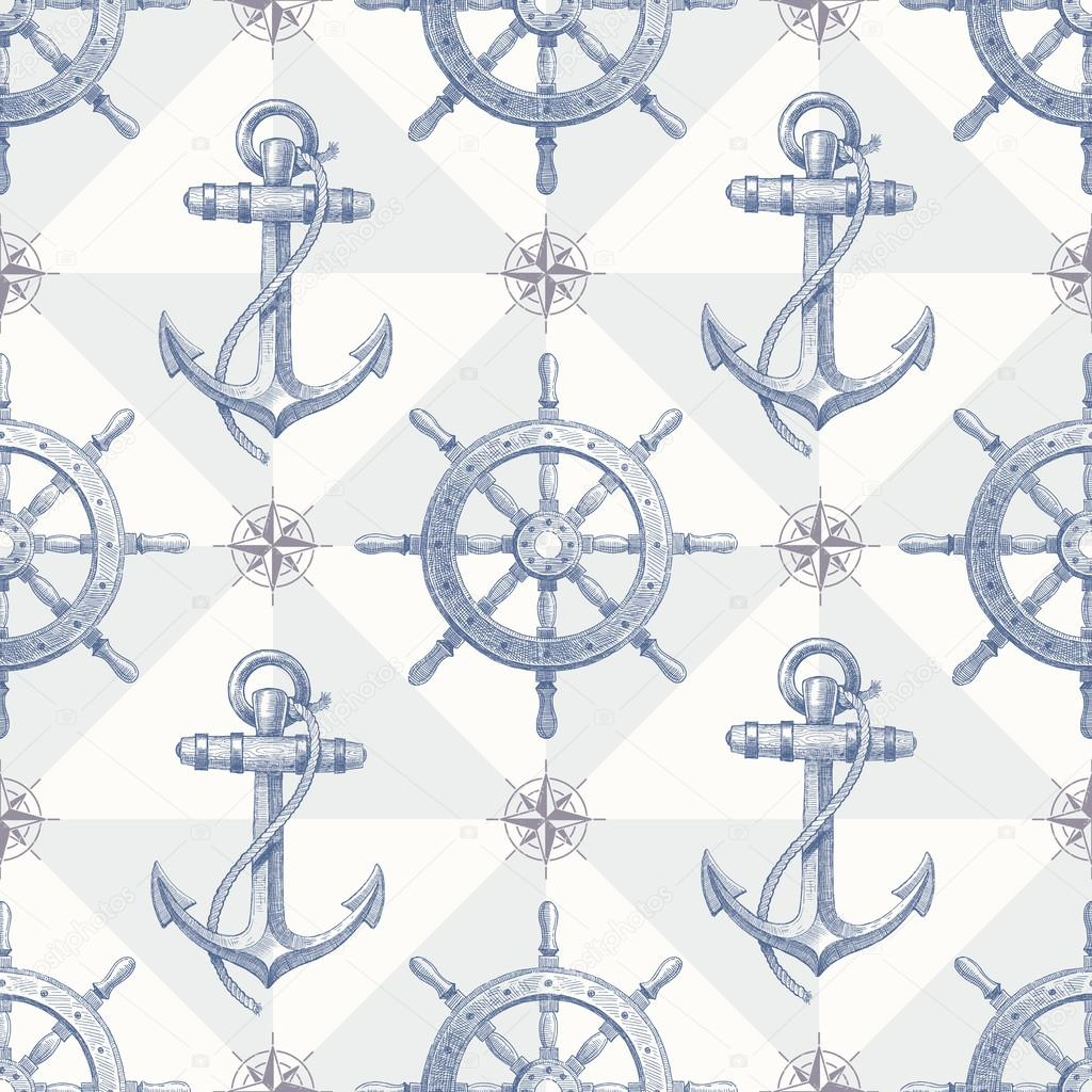 Seamless nautical background with hand drawn elements