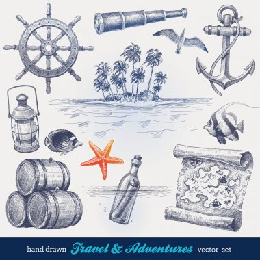 Travel and adventures hand drawn vector set