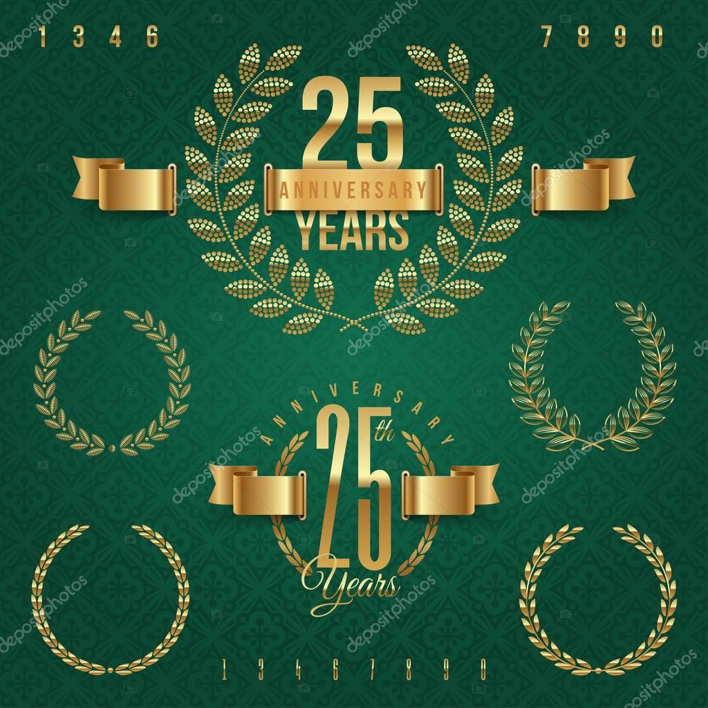 Anniversary golden emblems and decorative elements - vector illustration