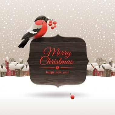 Bullfinch on banner with Christmas greeting