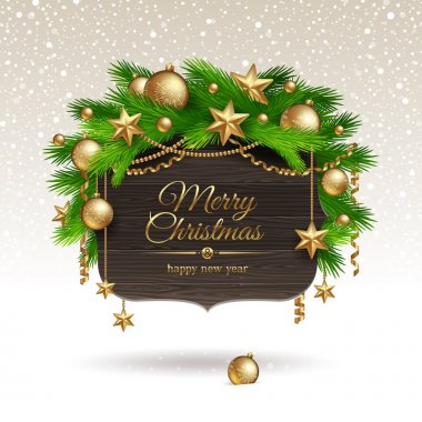 Banner with Christmas golden decoration
