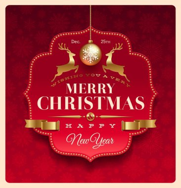 Christmas greeting decorative label