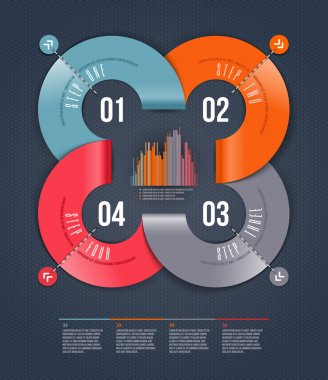Abstract infographics design with numbered paper elements - vector illustration