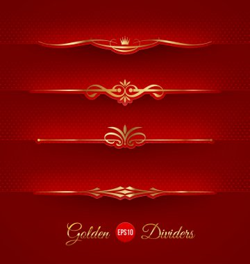 Vector set of golden decorative dividers